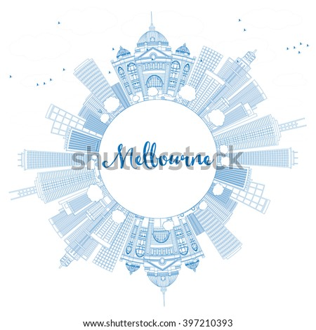 Outline Melbourne Skyline with Blue Buildings. Vector Illustration. Business Travel and Tourism Concept with Copy Space. Image for Presentation Banner Placard and Web Site. - stock vector
