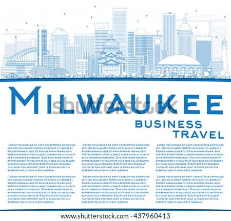 Outline Milwaukee Skyline with Blue Buildings and Copy Space. Vector Illustration. Business Travel and Tourism Concept with Modern Buildings. Image for Presentation Banner Placard and Web Site. - stock vector