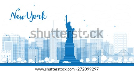 Outline New York city skyline with skyscrapers. Vector illustration. Business and tourism concept with place for text. Image for presentation, banner, placard and web site - stock vector