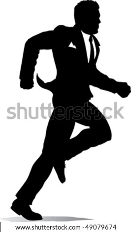 Outline of a business man running - stock vector