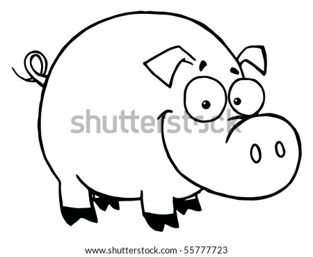 Outline Of A Happy Smiling Pig - stock vector