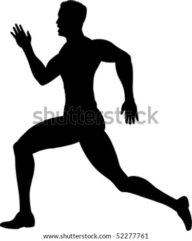 Outline of a runner - stock vector