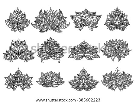 Outline ornamental paisley flowers and mandala with persian stylized curved petals and leaves. Floral design elements set - stock vector
