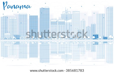 Outline Panama skyline with blue buildings and reflections. Vector illustration. Business travel and tourism concept with place for text. Image for presentation, banner, placard and web site. - stock vector