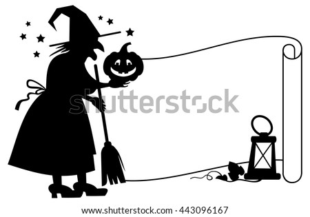 Outline paper scroll and silhouette of a witch with halloween pumpkin. Vector clip art. - stock vector