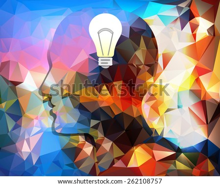 outline profile of a man, the idea came - vector illustration - stock vector