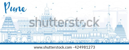 Outline Pune Skyline with Blue Buildings. Vector Illustration. Business Travel and Tourism Concept with Historic Buildings. Image for Presentation Banner Placard and Web Site. - stock vector