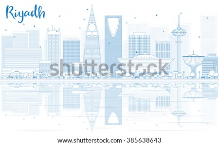 Outline Riyadh skyline with blue buildings and reflections. Vector illustration. Business travel and tourism concept with place for text. Image for presentation, banner, placard and web site. - stock vector