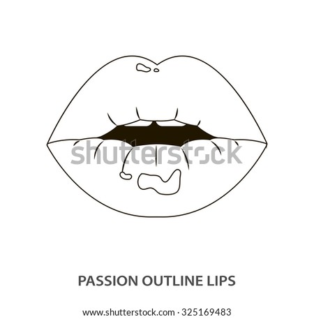 Outline sexy passion lips, shining lipstick, erotic open mouth - stock vector