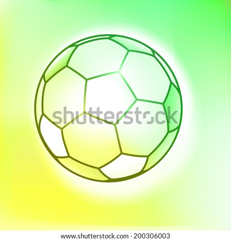 Outline soccer ball on a pastel yellow-green background  - stock vector