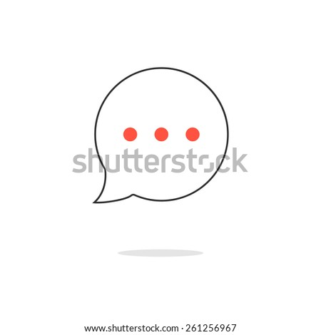 outline speech bubble icon with red points and shadow. concept of information, simple object, announcement. isolated on white background. flat style trendy modern logo design vector illustration - stock vector