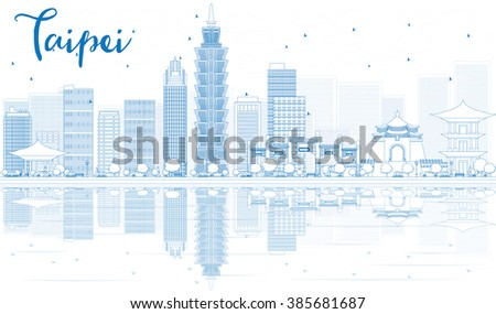 Outline Taipei skyline with blue buildings and reflections. Vector illustration. Business travel and tourism concept with place for text. Image for presentation, banner, placard and web site. - stock vector