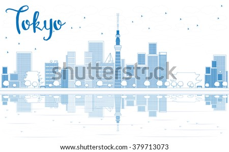 Outline Tokyo skyline with skyscrapers and Reflection. Vector illustration. Business travel and tourism concept with modern buildings. Image for presentation, banner, placard and web site - stock vector