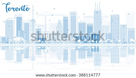 Outline Toronto skyline with blue buildings and reflections. Vector illustration. Business travel and tourism concept with place for text. Image for presentation, banner, placard and web site. - stock vector