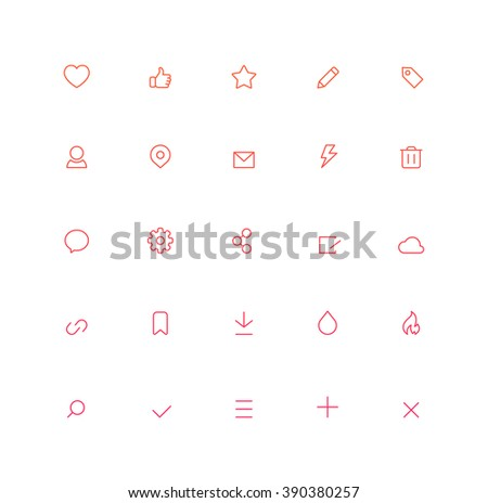 Outline User Interface Icons - stock vector