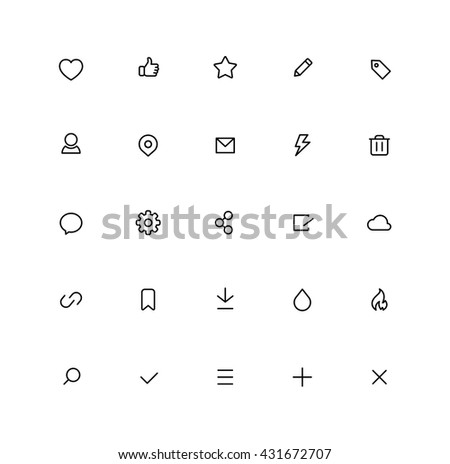 Outline User Interface Icons Office Browser Ui Internet Icon Misc - stock vector