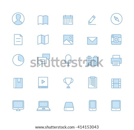 Outline User Interface Ui Technology Icons Icon Electronic Electronica - stock vector