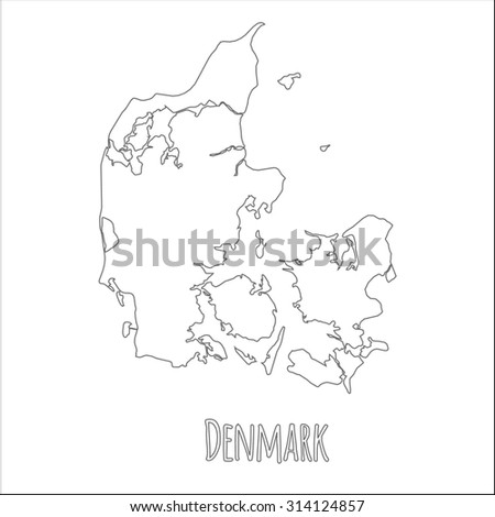 Outline vector map of Denmark. Simple Denmark border map. Vector silhouette on white background. - stock vector