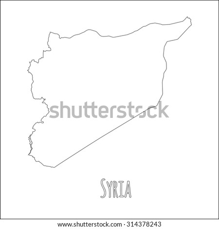 Outline vector map of Syria. Simple Syria border map. Vector silhouette on white background. - stock vector