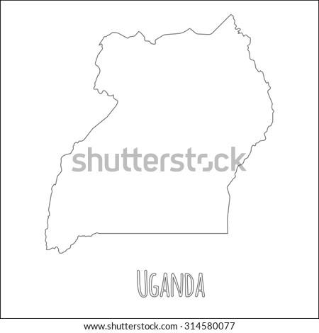 Outline vector map of Uganda. Simple Uganda border map. Vector silhouette on white background. - stock vector