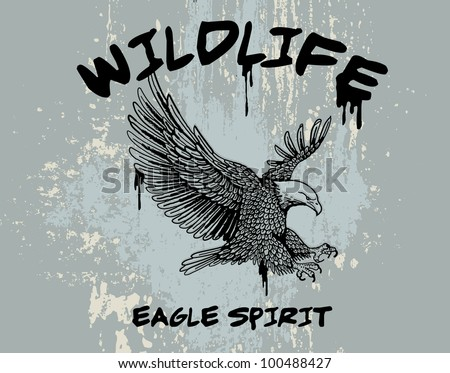 outline vector of an eagle with grunge background - stock vector