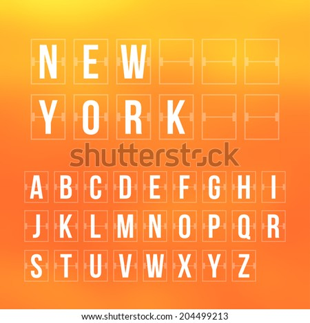 Outline vector scoreboard letters and symbols flat alphabet mechanical panel - stock vector