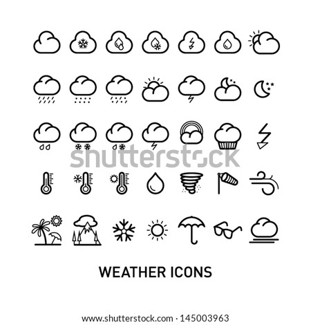 Outline Weather Icons Set Collection - stock vector