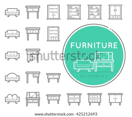 Outline web icon collection - furniture - stock vector
