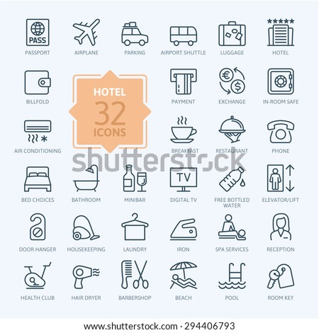 Outline web icon set - Hotel services - stock vector