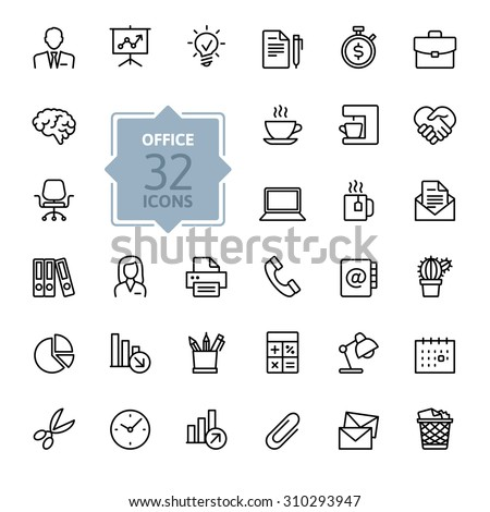 Outline web icon set - Office supplies. - stock vector