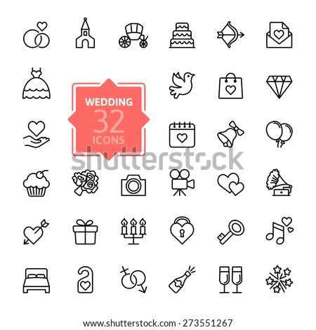 Outline web icon set - wedding - stock vector