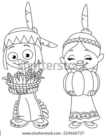 Outlined American Indian children sharing food for Thanksgiving. Vector illustration coloring page. - stock vector