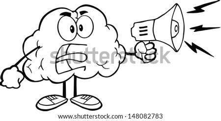 Outlined Angry Brain Cartoon Character Screaming Into Megaphone - stock vector