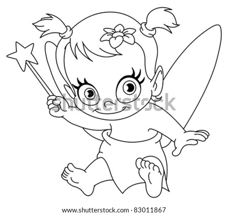 Outlined baby fairy - stock vector