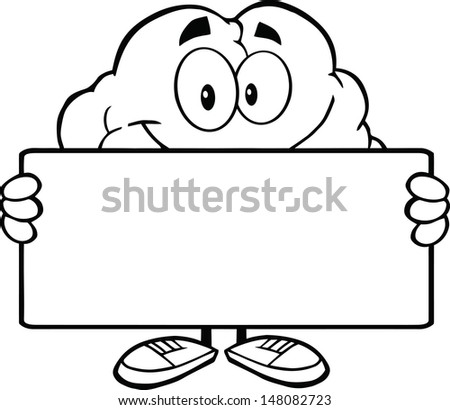 Outlined Brain Cartoon Character Holding A Banner - stock vector