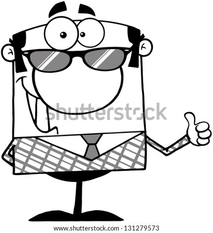 Outlined Business Manager With Sunglasses Showing Thumbs Up - stock vector