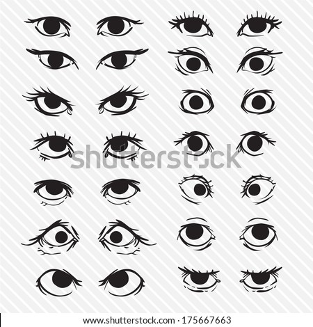 Outlined cartoon eyes set - stock vector