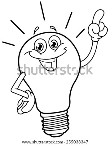 Outlined cartoon light bulb. Vector illustration coloring page. - stock vector