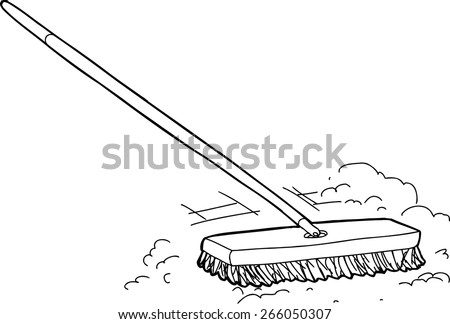 Outlined cartoon push broom sweeping dust over white - stock vector