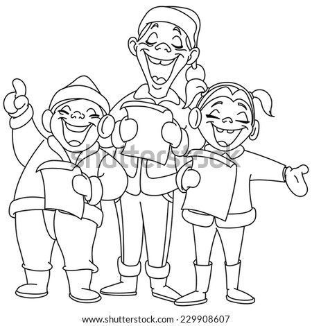 Outlined Christmas carolers. Vector illustration coloring page. - stock vector