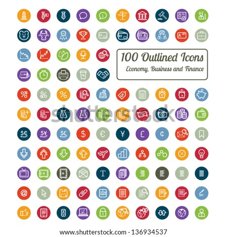 Outlined Colorful Business and Finance Icon Set Collection - stock vector
