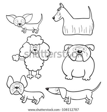 Outlined cute cartoon dogs for coloring book - stock vector