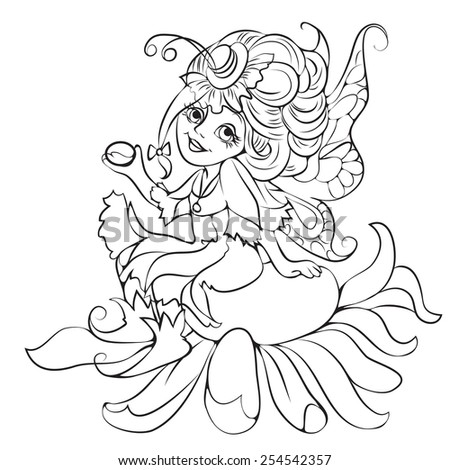 Outlined fairy with floral  - stock vector