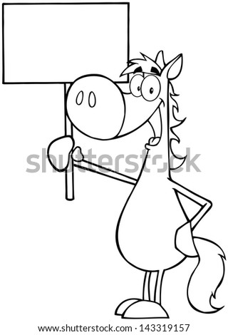 Outlined Happy Horse Holding Up A Blank Sign. Vector Illustration - stock vector