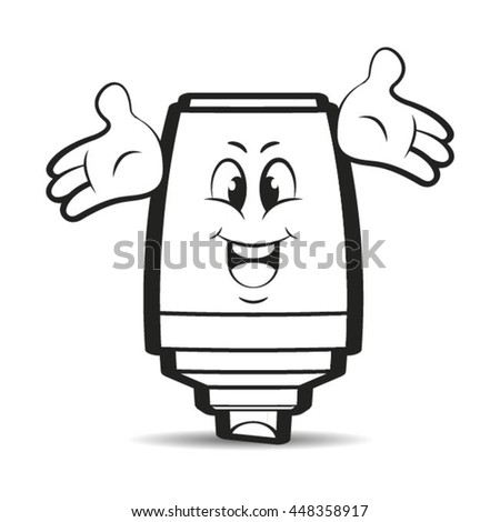 outlined happy marker pen cartoon-vector drawing - stock vector