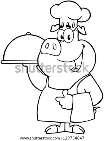 Outlined Happy Pig Chef Holding A Platter - stock vector