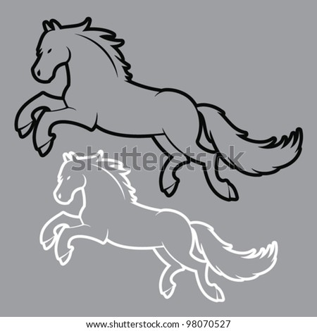 outlined horse illustration - vector - stock vector