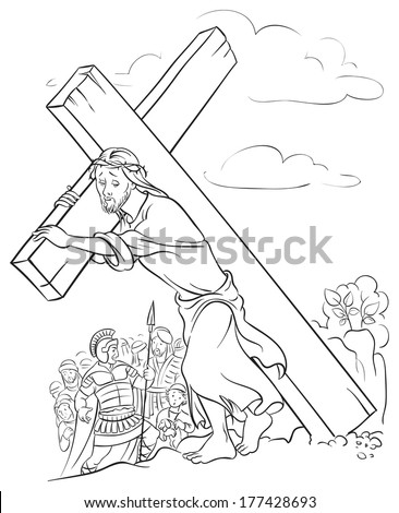 Outlined illustration of Jesus Christ carrying cross. Colouring page. Also available colored version - stock vector