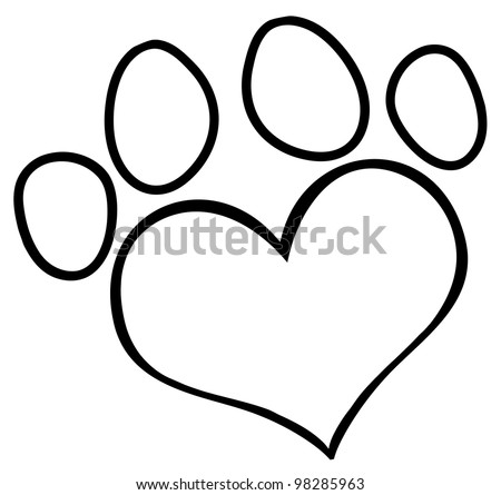 Outlined Love Paw Print. Vector Illustration - stock vector