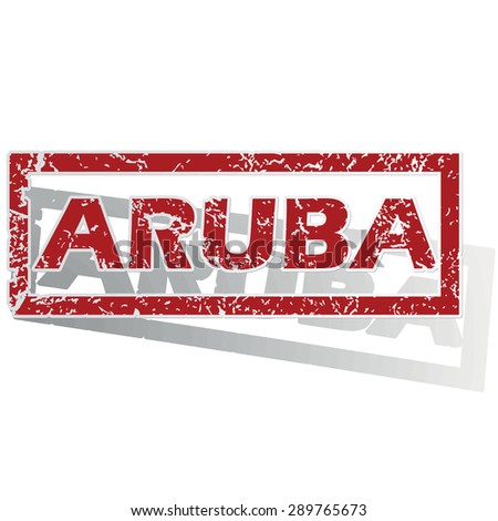Outlined red stamp with country name Aruba, with shadow - stock vector